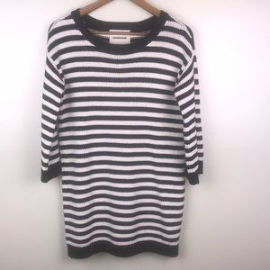 LANDS' END Striped Crew Neck Long Heavy Sweater